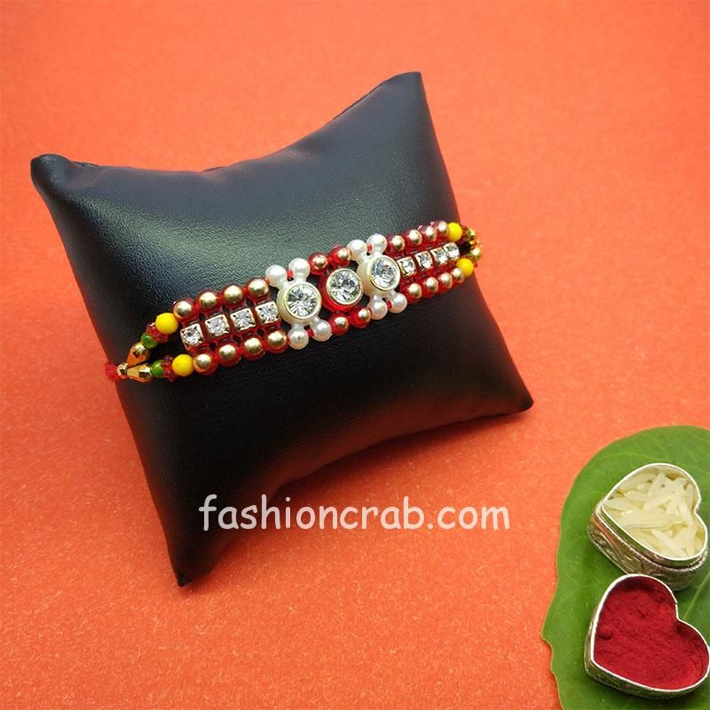 Red Beads Pearl Dori Rakhi