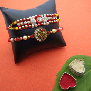 Red Beads Rakhi Set of 2