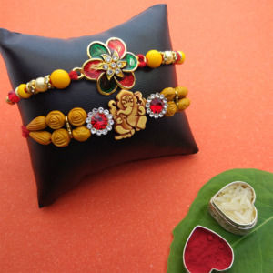Set of 2 Ganesha and Floral Rakhi