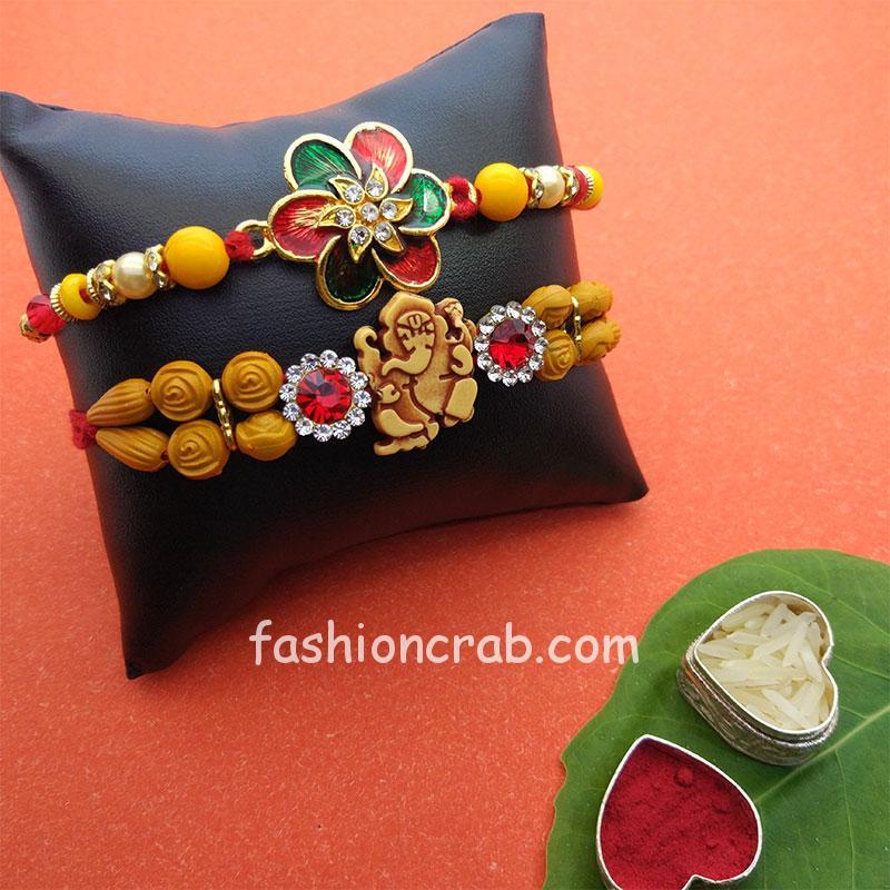Set of 2 Ganesha and Floral Rakhi