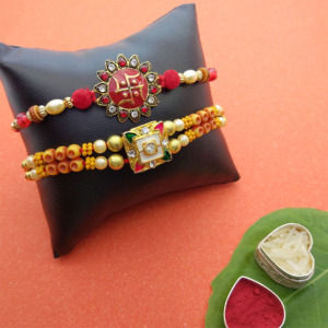 Set of 2 Swastik and Designer Rakhi