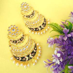 Three Layer Black Meenakari Kundan Chandbali Earring
