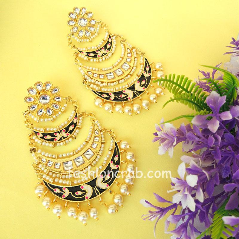 Three Layer Black Meenakari Kundan Chandbali Earring