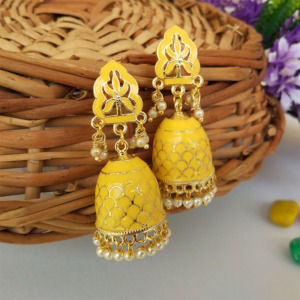 Yellow Colour Handcrafted Meenakari Earrings
