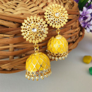 Yellow Ethnic Jhumka Earring