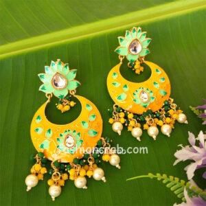 Yellow Traditional Meenakari Earring for Saree
