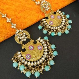Blue Ethnic Chandbali Earring for Women