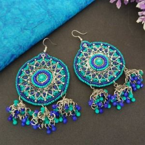 Blue Green Beads Oxidized Jhumka Earrings for College