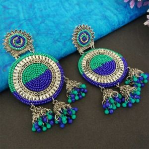Blue Green Oxidized Silver Toned Chandbali