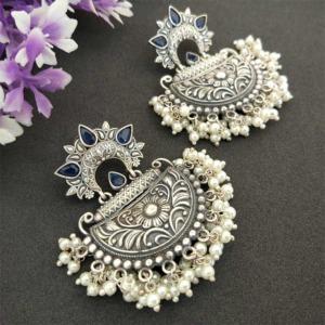Blue Stone Silver Look Alike Pearl Earrings