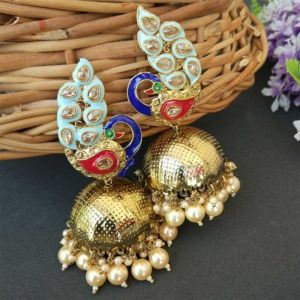 Blue Traditional Peacock Jhumka Earrings for Bride