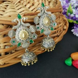 Green Stone German Silver Peacock Jhumka Earring