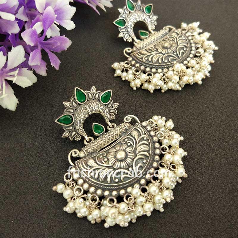 Green Stone Silver Look Alike Pearl Earrings