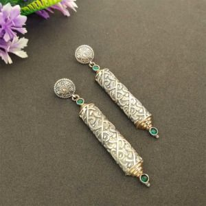 Handcrafted Green Color Stone German Silver Earring