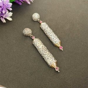 Handcrafted Pink Color Stone German Silver Earring