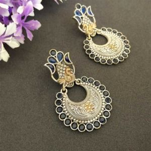 Indian Blue Dual Tone Brass Earring