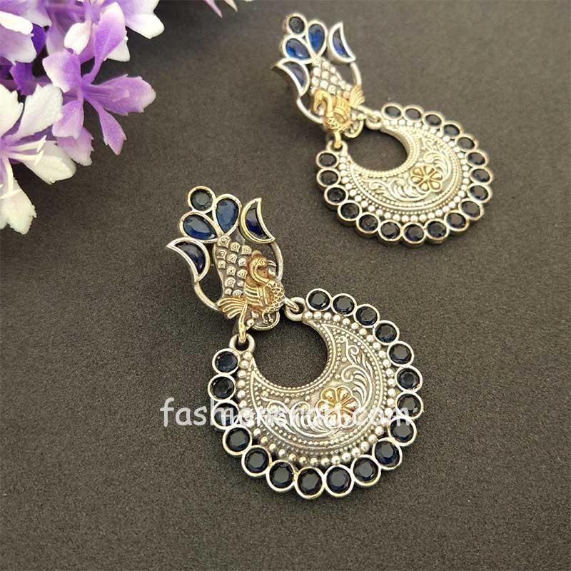 Indian Blue Dual Tone Brass Earring