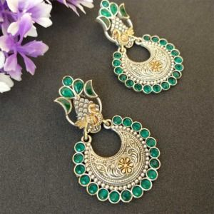Indian Green Dual Tone Brass Earring
