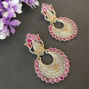 Indian Pink Dual Tone Brass Earring