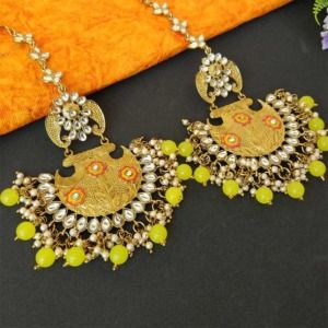 Lemon Yellow Ethnic Chandbali Earring for Women