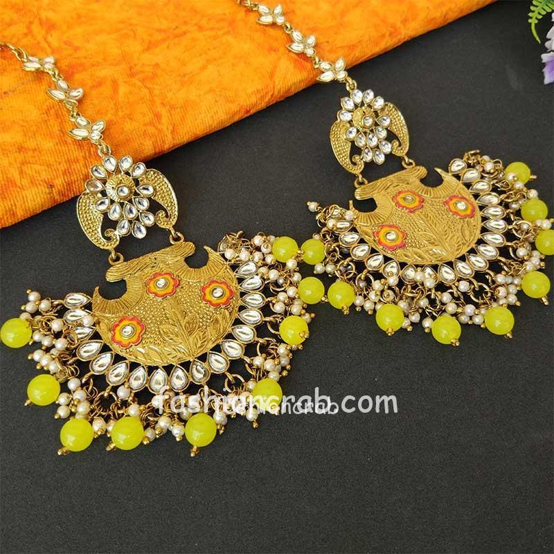 Lemon Yellow Ethnic Chandbali Earring for Women
