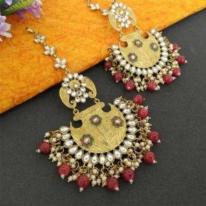 Maroon Ethnic Chandbali Earring for Women