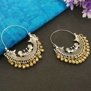 Oxidised Silver Dual Toned Chandbali Earring for Girls