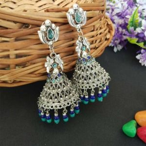 Oxidised Silver Toned Blue Green Jhumka