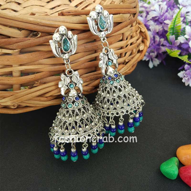 Oxidised Silver Toned Blue Green Jhumka