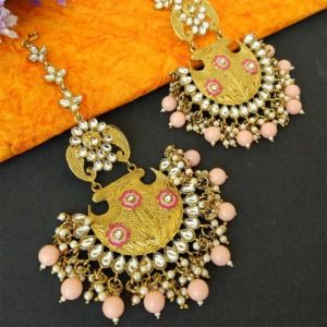 Peach Ethnic Chandbali Earring for Women