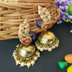Peach Traditional Peacock Jhumka Earrings for Bride