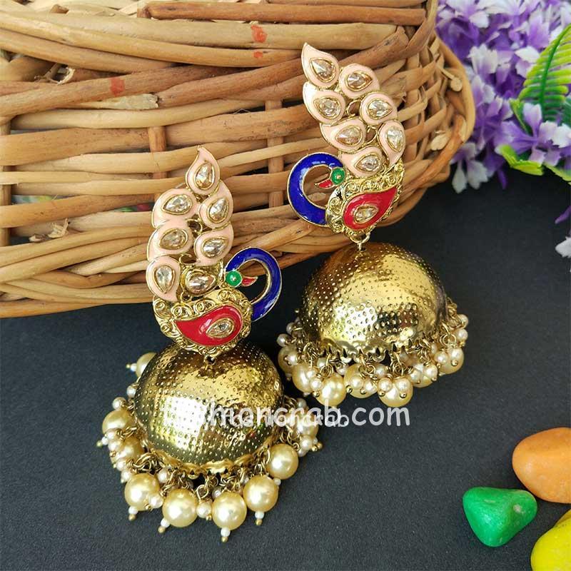 Peach Traditional Peacock Jhumka Earrings for Bride