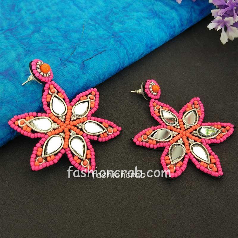Pink Beads Mirror Work Earrings