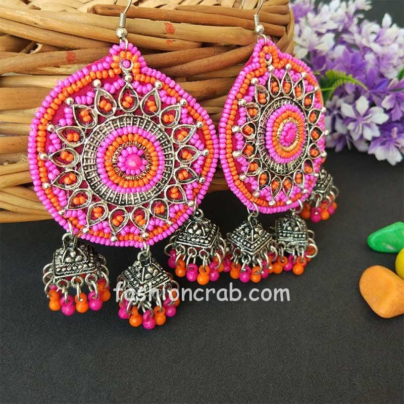 Pink Orange Beads Oxidized Jhumka Earrings for College