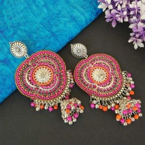 Pink Orange Big Indian Oxidized Silver Earring