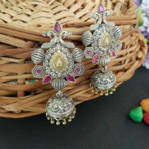 Pink Stone German Silver Peacock Jhumka Earring