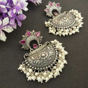 Pink Stone Silver Look Alike Pearl Earrings