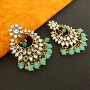 Sea Green Pearls Chandbali Earring