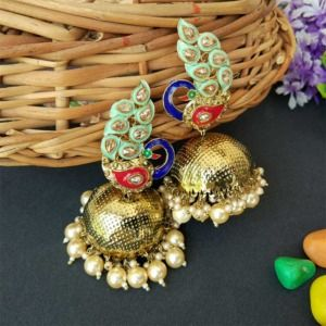 Sea Green Traditional Peacock Jhumka Earrings for Bride