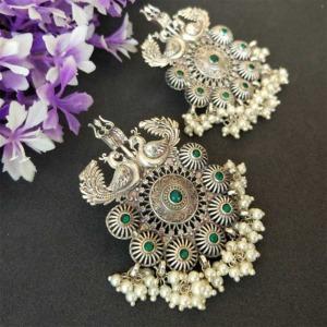 Trishul Damru Green Stone Oxidised Pearl Earring