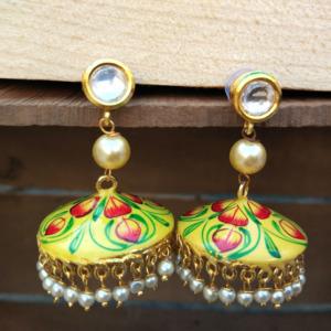 Yellow Kundan Meenakari Jhumka Earring