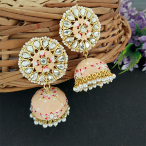 Floral Hand Painted Peach Meenakari Jhumka for Women