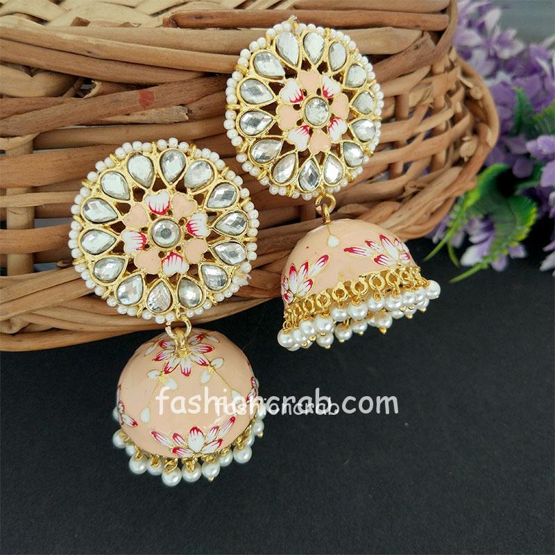 Floral Hand Painted Peach Meenakari Jhumka for Women
