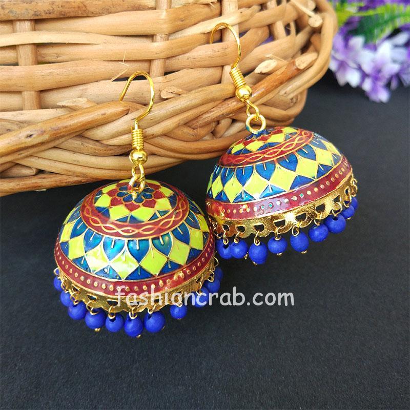 Green Blue Pearl Meenakari Jhumki Earring