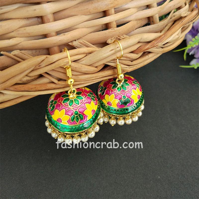 Green Yellow Pearl Small Jhumki Earring