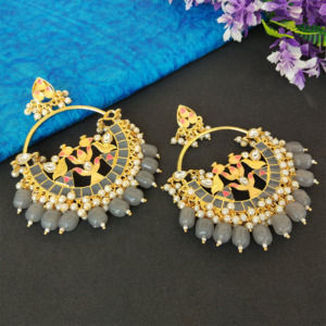 Grey Pearl Meenakari Celebrity Earrings