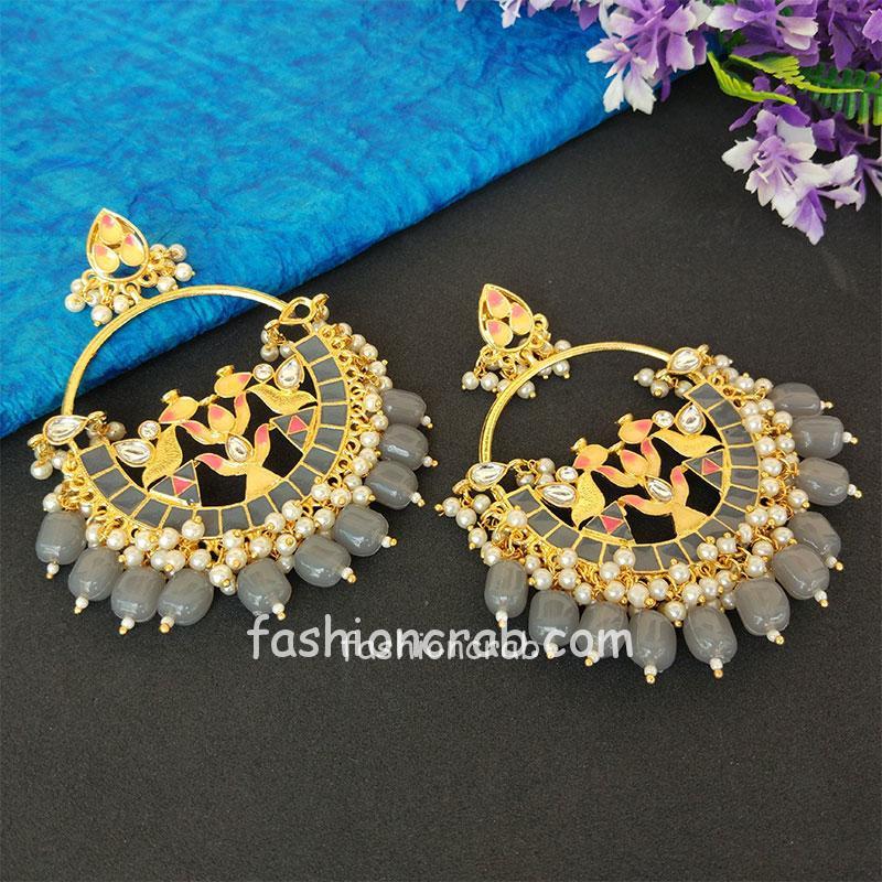 Grey Pearl Meenakari Celebrity Earrings