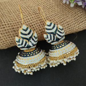Light Blue Meenakari Big Jhumka Earrings for Wedding