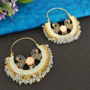 Light Blue Pearl Hoop Earrings for Lehenga