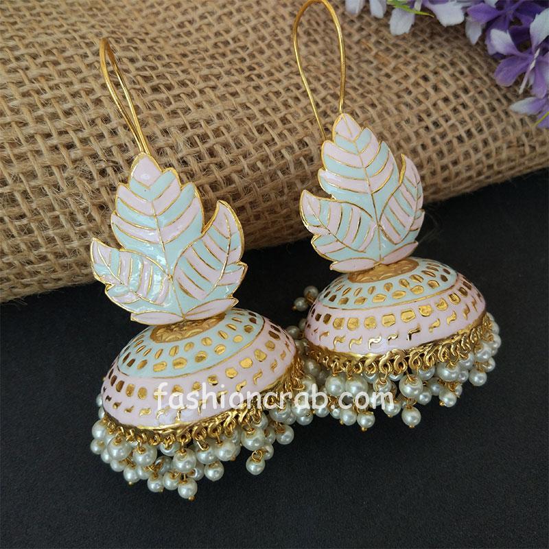 Light Blue Pink Meenakari Big Jhumka Earrings for Wedding